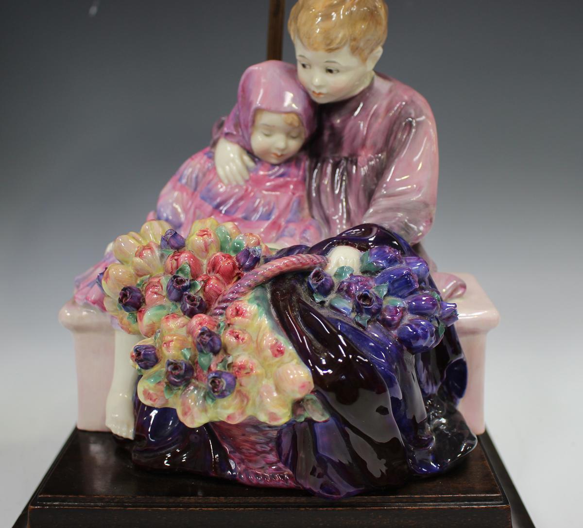 A Royal Doulton figure group lampbase, The Flower Seller's Children, HN1206, raised on a rectangular - Image 8 of 8