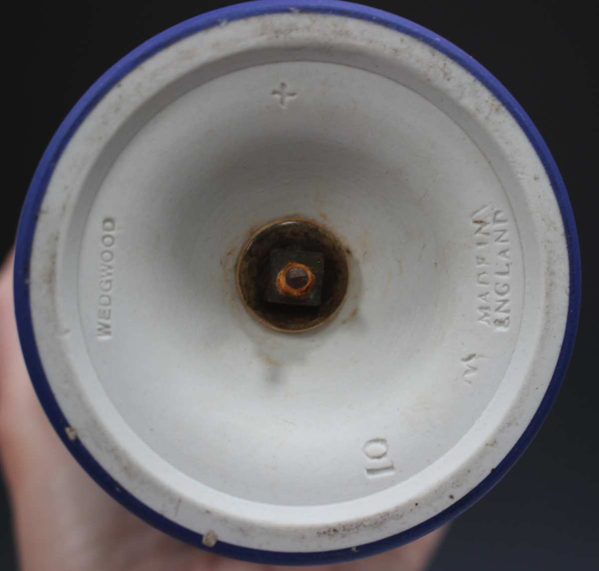 A Wedgwood dark blue jasper dip two-handled vase, early to mid-20th century, of tapered ovoid shape, - Image 4 of 4