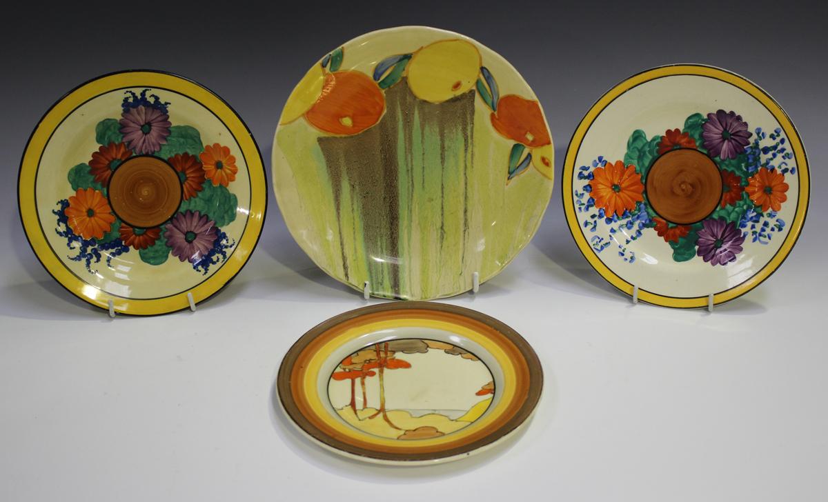 Two Clarice Cliff Bizarre Gayday pattern plates, diameter 17.6cm, a Clarice Cliff Delicia Citrus