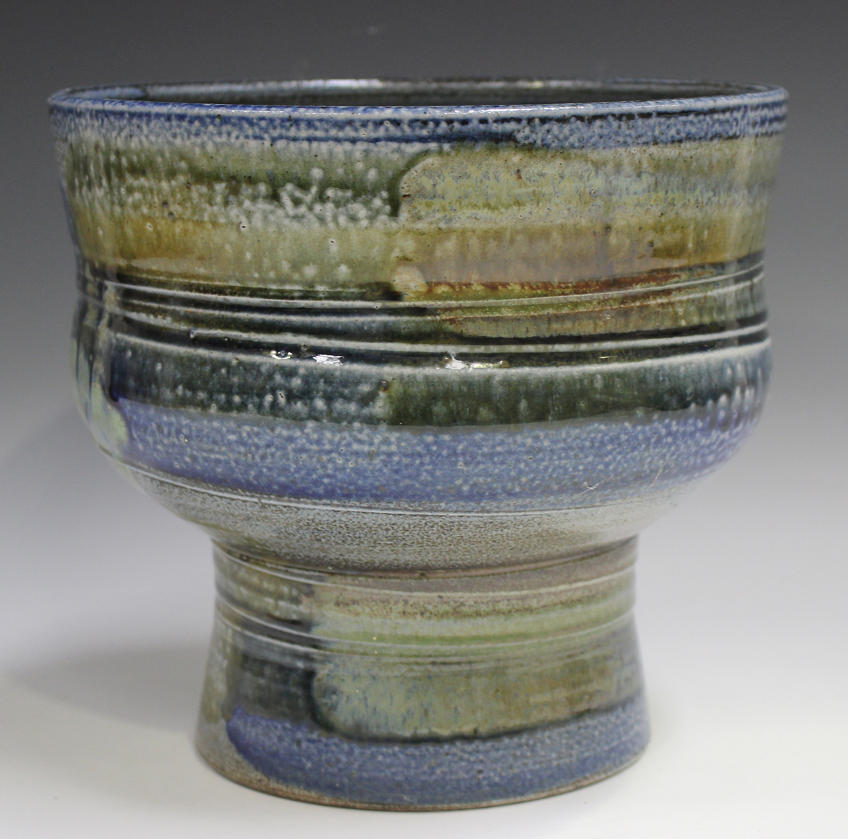 A large Jane Hamlyn studio pottery salt glazed footed bowl, decorated in shades of blue, green and - Image 7 of 7