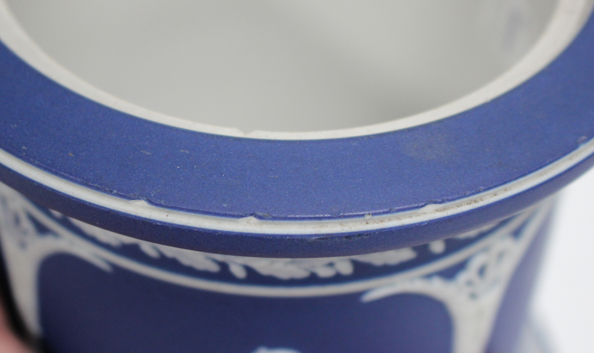 A Wedgwood dark blue jasper dip two-handled vase, early to mid-20th century, of tapered ovoid shape, - Image 2 of 4