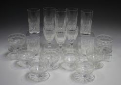 A part suite of Waterford Crystal Colleen pattern glassware, comprising eight footed sundae