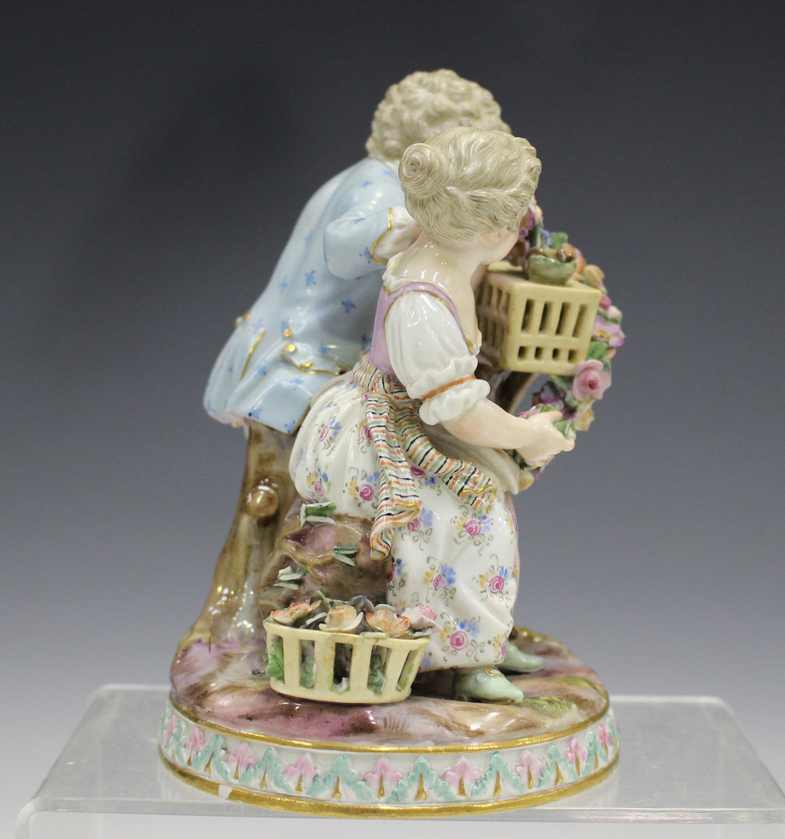 A Meissen figure group emblematic of Spring, late 19th century, modelled after Schönheit as a boy - Image 3 of 5