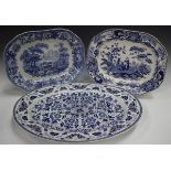 A Copeland Aesop's Fables Series blue printed meat dish, mid-19th century, decorated with the Fox