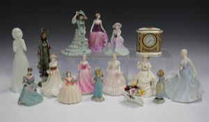 Nine Coalport figures, including Fascination, Beau Monde Beatrice and Selina, together with a