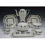 An Art Deco Shelley Queen Anne shape Tall Trees & Sunset pattern part tea and coffee service, 1925-