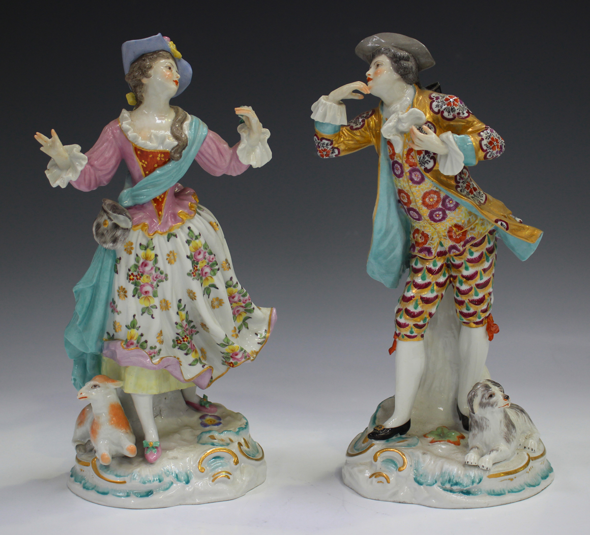 A pair of Continental porcelain figures, late 19th century, modelled in Chelsea style as a gallant