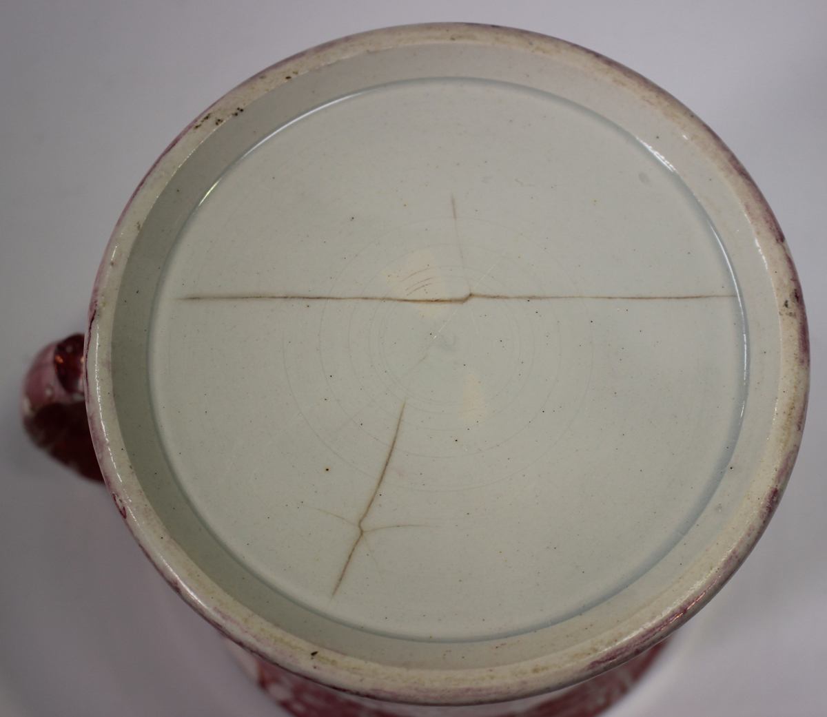 A large pearlware mottled pink lustre decorated mug, circa 1820, height 11.5cm, together with two - Image 12 of 13