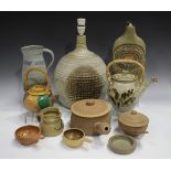 A group of studio pottery, 20th century, including a Jano Clark jug of lobed form with relief