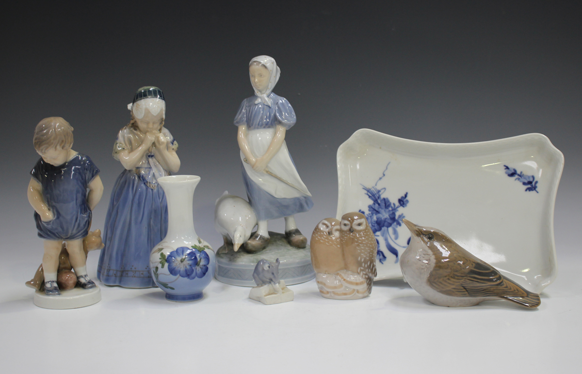 A small group of Royal Copenhagen, including Girl with Geese, No. 527, height 23.8cm, Girl from