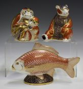 Three Royal Crown Derby Imari paperweights, comprising Honey Bear, circa 1993, Monkey and Baby,