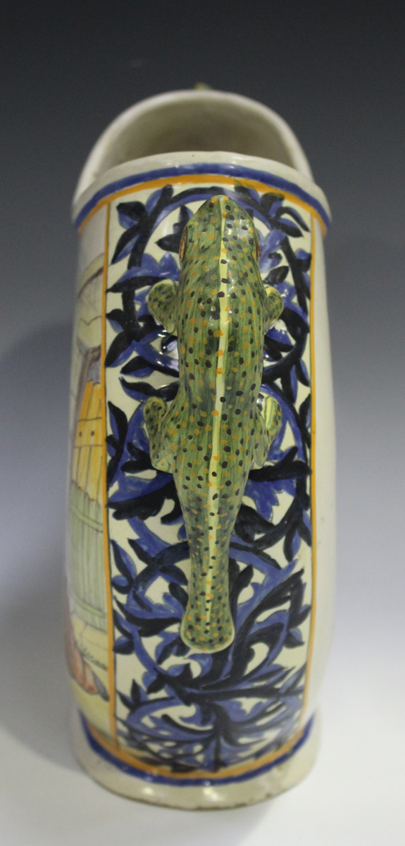 A Porquier Quimper two-handled vase, 1895-1903, the flattened body decorated with a countryside - Image 7 of 8