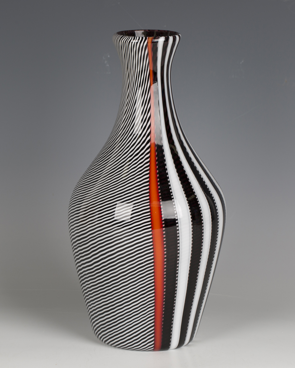 A Gianni Versace for Venini, Murano, smoking glass vase, circa 1998, with black, white and red