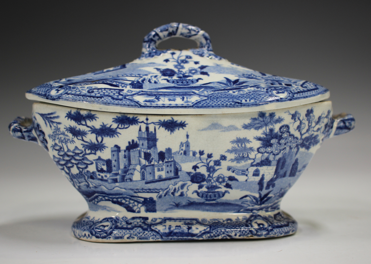 A mixed group of blue printed Staffordshire pottery, 19th century, including a Nuneham Courtenay ( - Image 2 of 5
