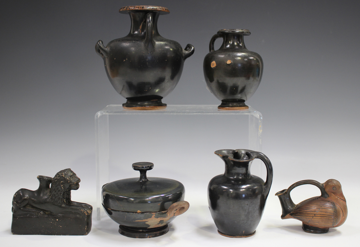 Six items of Attic style Grand Tour redware pottery, probably 19th century, including an askos in