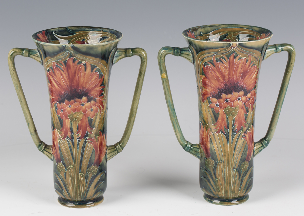 A pair of James Macintyre & Co two-handled pottery vases, circa 1910-13, designed by William