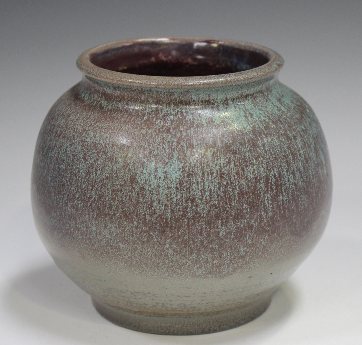 A studio pottery vase, early 21st century, of bulbous form, covered in a streaky purple and pale - Image 6 of 7