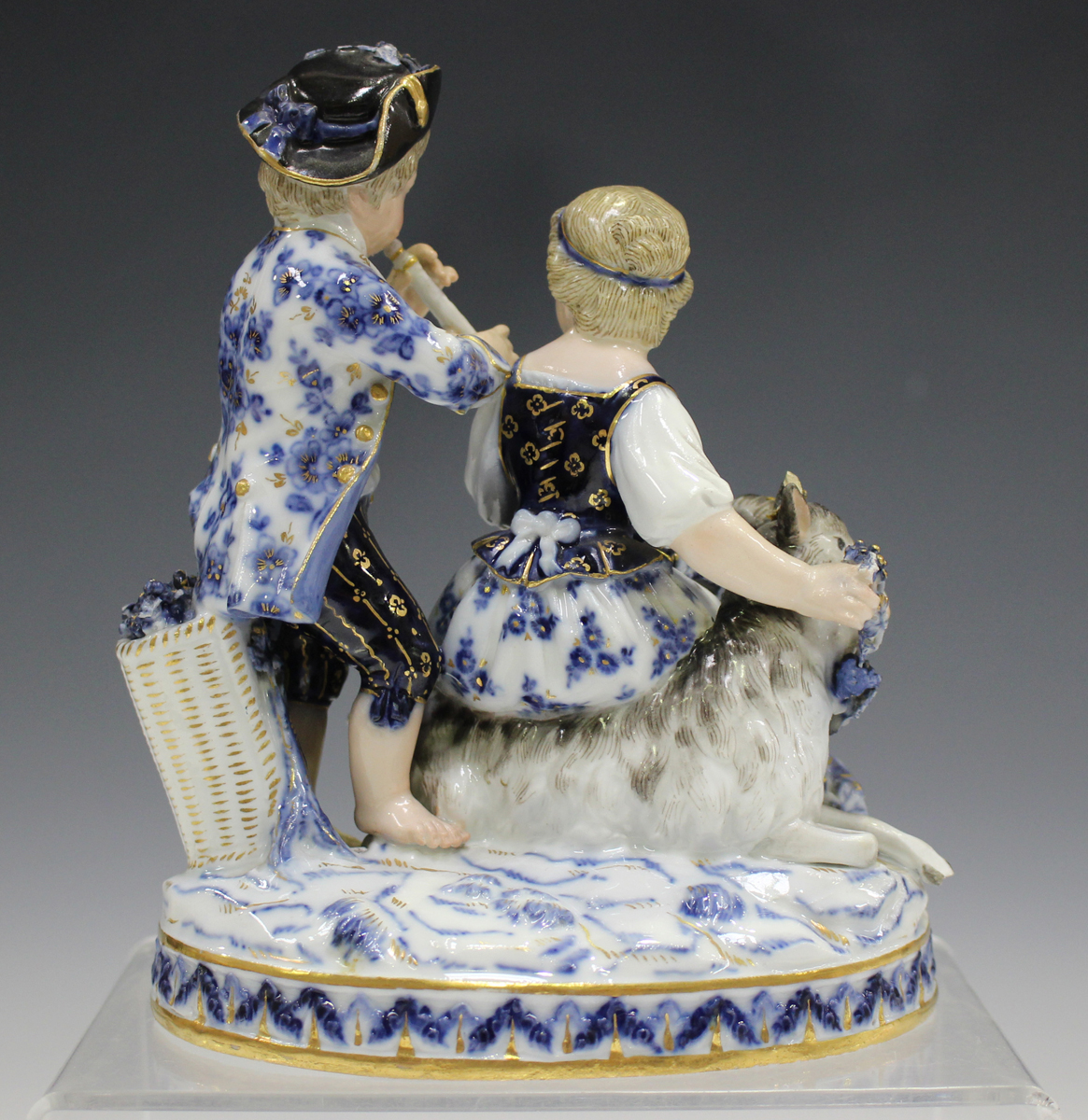 A Meissen figure group representing Autumn, late 19th century, modelled after Schönheit as a girl - Image 5 of 5