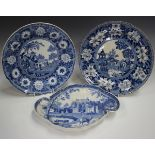 Two Rogers pearlware blue printed plates, circa 1820, in the Elephant and Zebra patterns, diameter