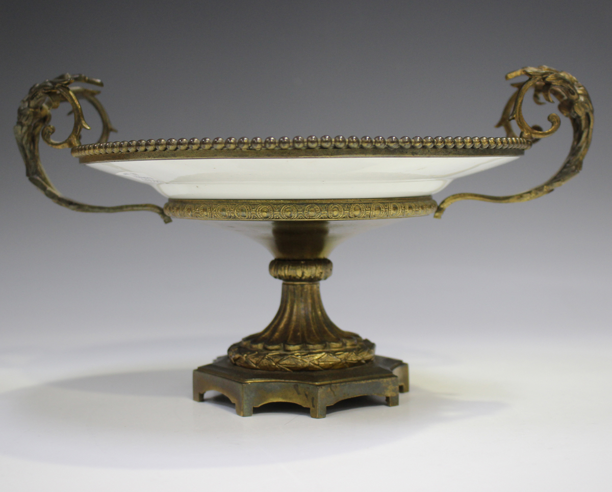 A gilt metal mounted porcelain tazza, late 19th/early 20th century, the apricot rimmed dish with - Image 10 of 10