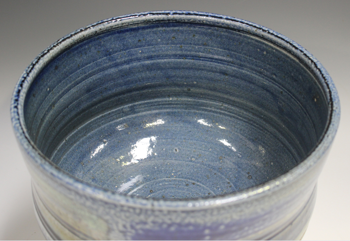 A large Jane Hamlyn studio pottery salt glazed footed bowl, decorated in shades of blue, green and - Image 4 of 7