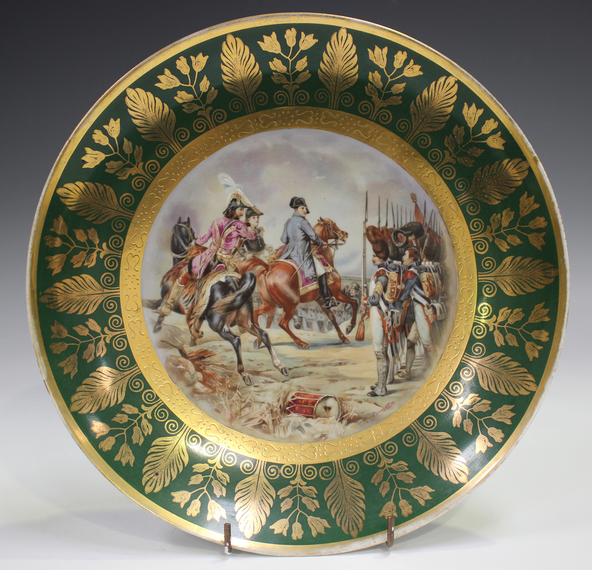 A gilt metal mounted porcelain tazza, late 19th/early 20th century, the apricot rimmed dish with - Image 7 of 10