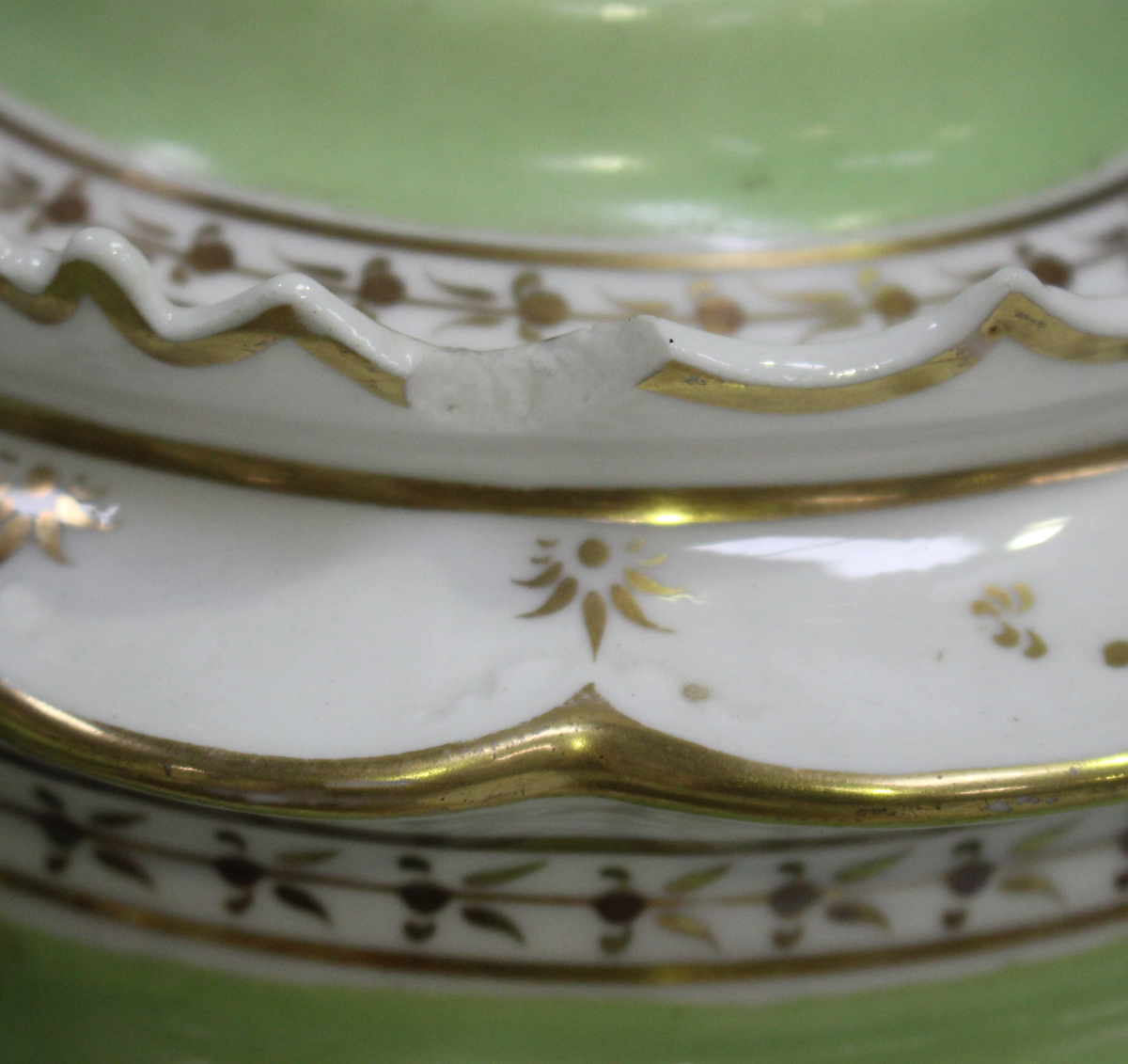 A John Ridgway porcelain part tea service, circa 1835-40, with green borders and gilt foliate - Image 3 of 6