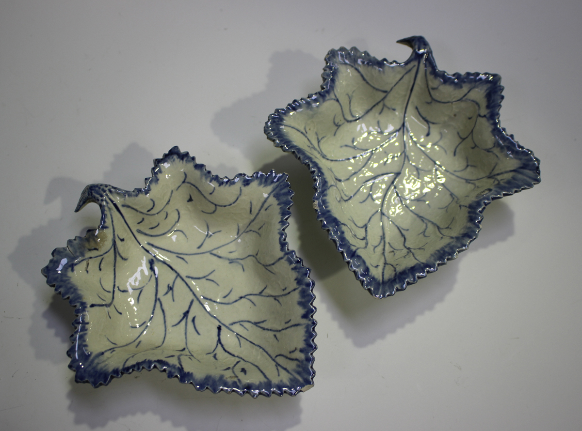 A pair of pearlware leaf shaped pickle dishes, late 18th/early 19th century, length 13.4cm, - Image 12 of 12