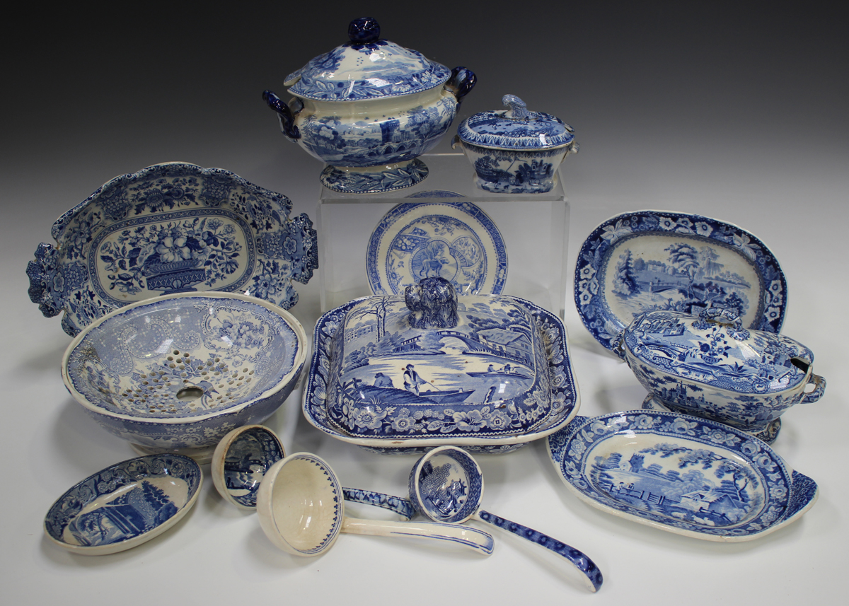 A mixed group of blue printed Staffordshire pottery, 19th century, including a Nuneham Courtenay (