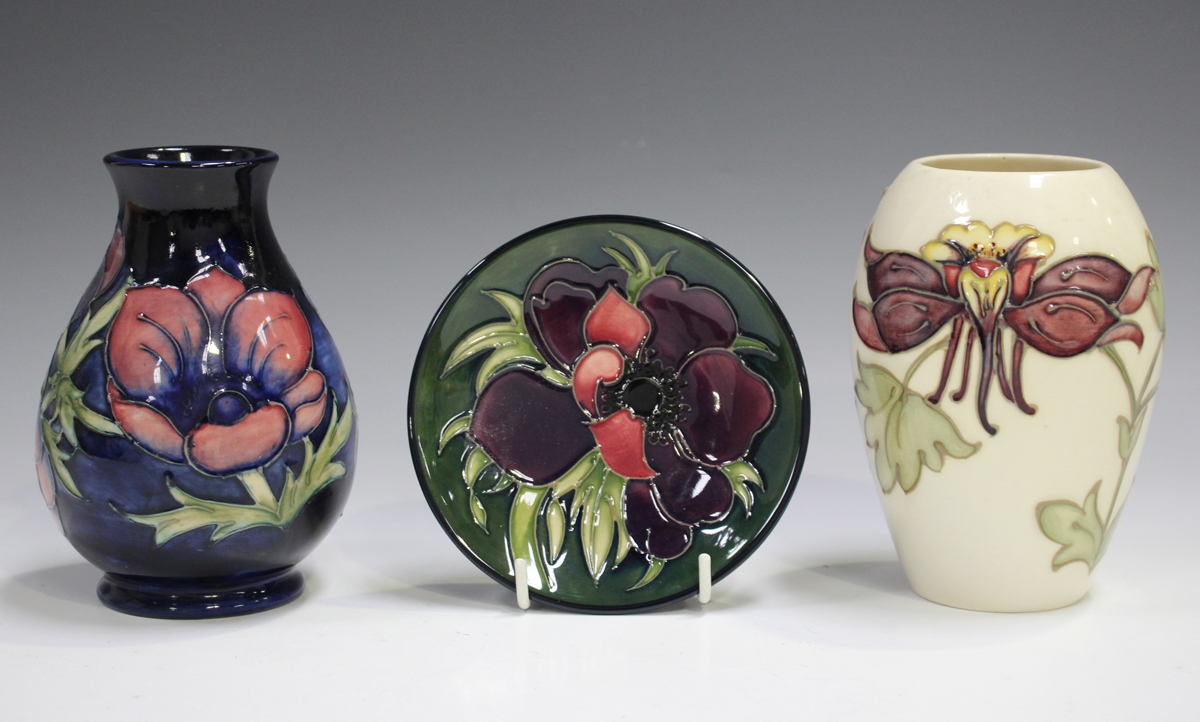 Three pieces of Moorcroft pottery, late 20th century and later, comprising an Anemone pattern