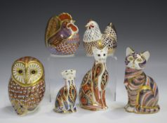 Six Royal Crown Derby Imari paperweights, comprising Siamese Cat and Kitten, Cat, Barn Owl, Hen