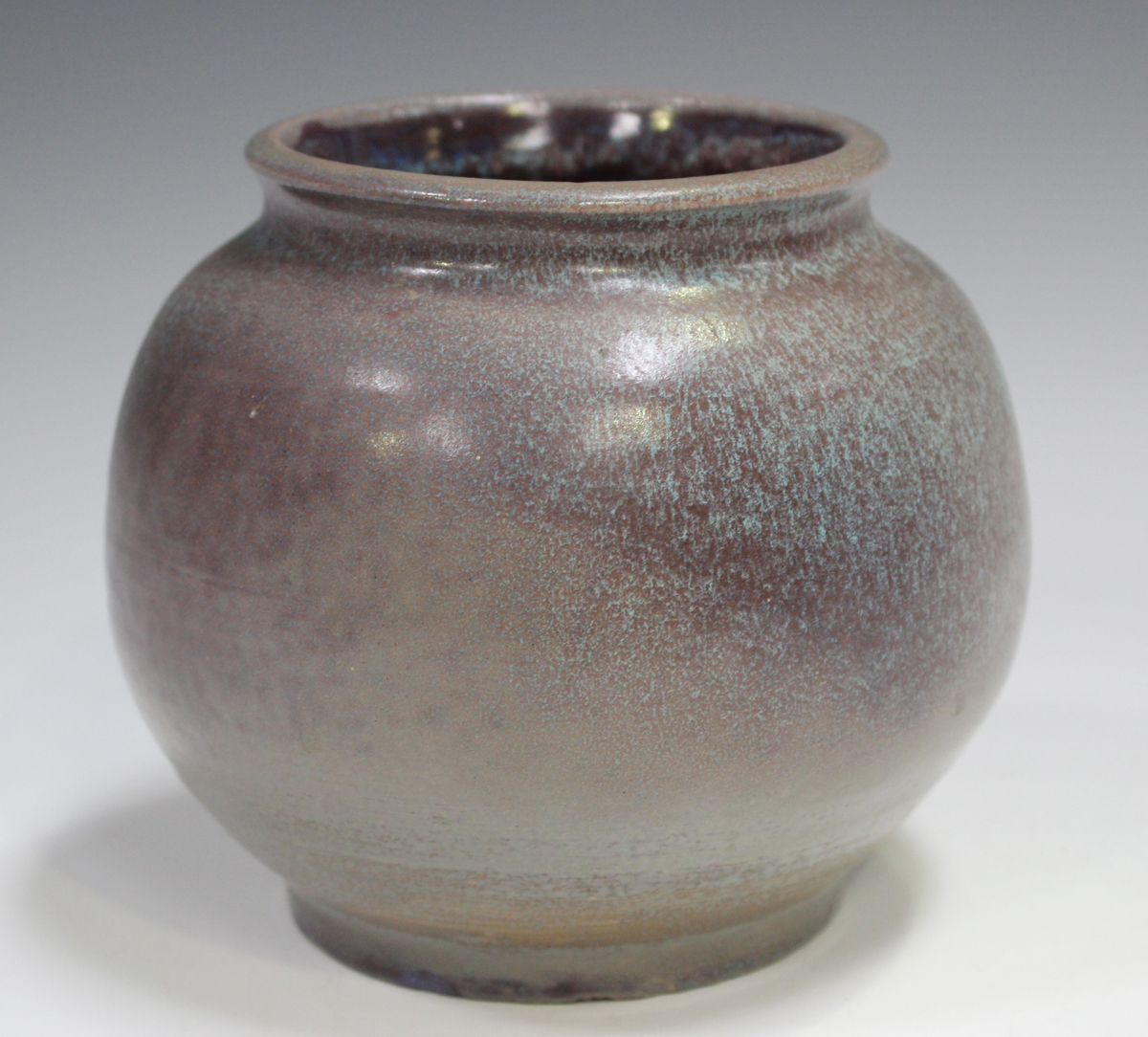A studio pottery vase, early 21st century, of bulbous form, covered in a streaky purple and pale - Image 7 of 7