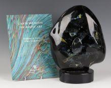 An Italian Dino Rosin Murano glass sculpture, contemporary, of abstract shape, the Calcedonia