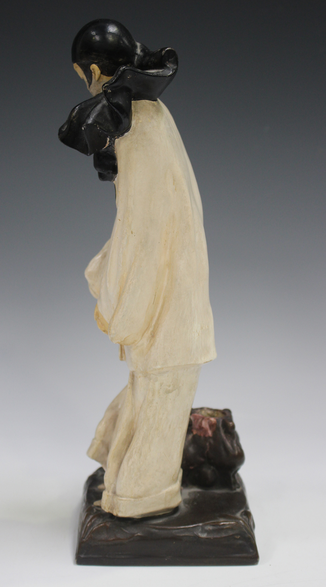 An Italian pottery figural lamp base, 20th century, inspired by a design by Roland Paris, modelled - Image 8 of 9