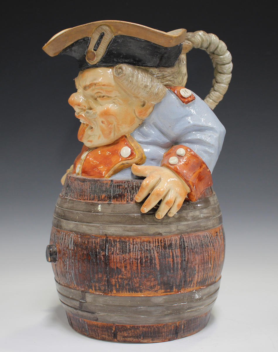 A Continental majolica jug and cover, late 19th/early 20th century, of coopered tapering cylindrical - Image 5 of 12