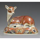 A Royal Crown Derby Collector's Guild Imari Deer paperweight, circa 1994, gold stopper to base,