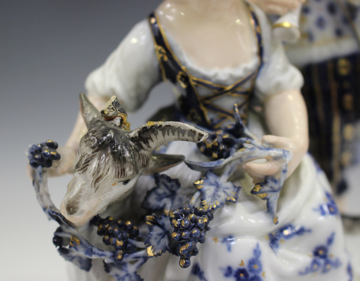 A Meissen figure group representing Autumn, late 19th century, modelled after Schönheit as a girl - Image 4 of 5