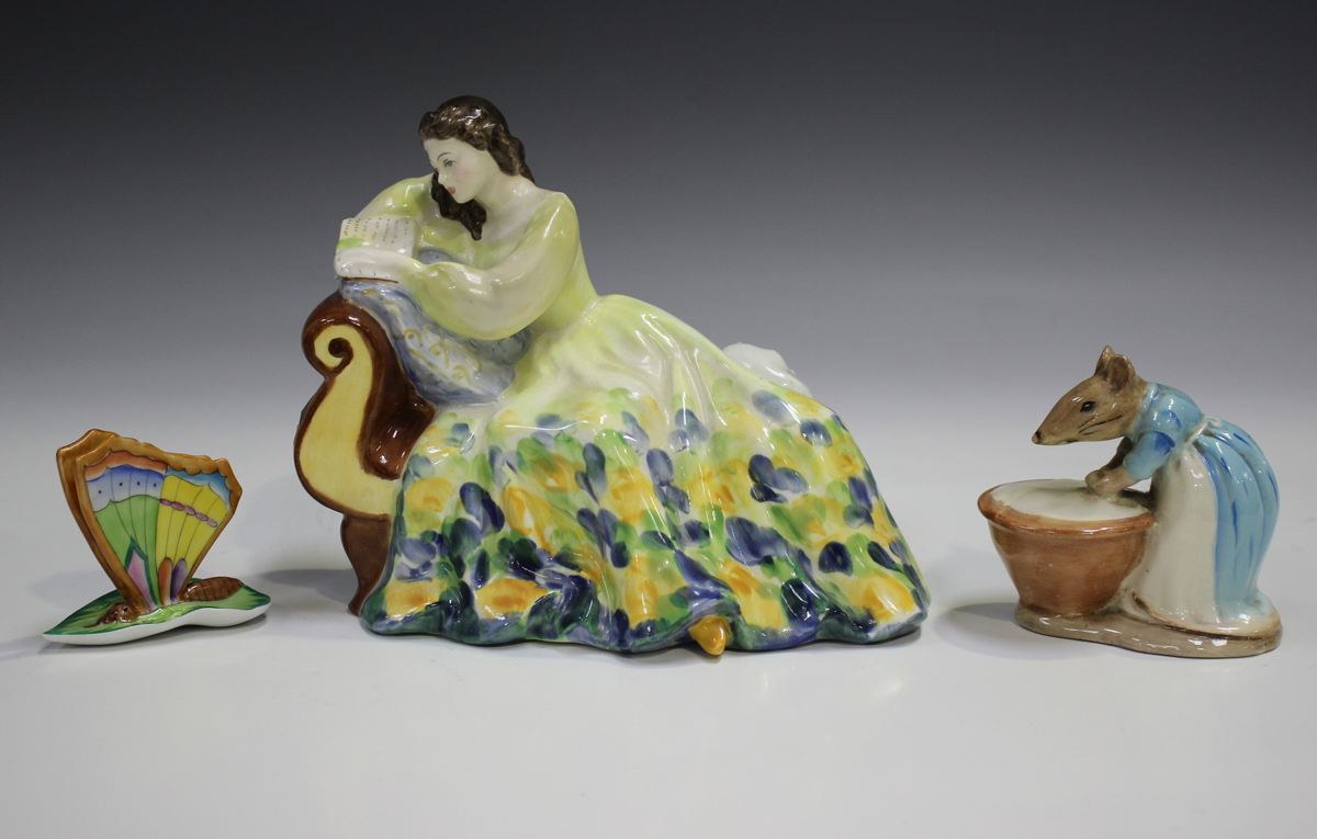 A Herend porcelain model of a butterfly with closed wings resting on a leaf, height 5.2cm,