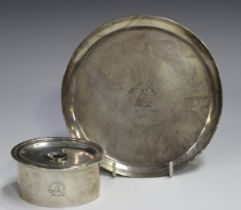 A George III silver oval burner and cover with reeded rim and central aperture, the top and side