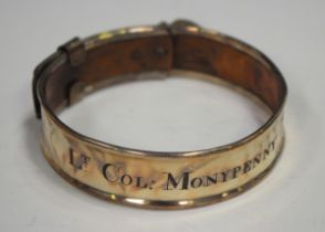 A 19th century Sheffield plate adjustable dog collar with engraved inscription 'LT Col: Monypenny
