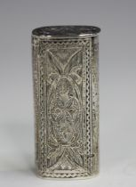 A Victorian silver oval vesta case with hinged lid to one end, with bright cut engraved