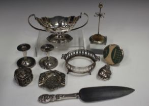 A small group of silver and plated items, including a Burmese heart shaped box and cover, a silver