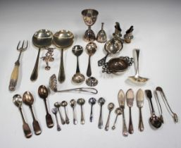 A collection of plated cutlery, including a part canteen of Old English pattern cutlery and a