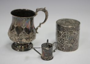 A Victorian silver christening cup of baluster form, embossed with flowers and strapwork,