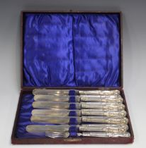 A set of six George V silver King's pattern dessert knives and forks, Sheffield 1911 by Harrison