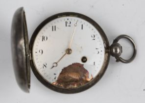 A George III silver hunting cased pocket watch, the gilt fusee movement with verge escapement, the