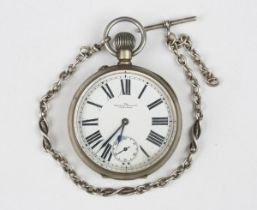 An early 20th century plated keyless wind Goliath pocket watch, the movement numbered '1043201', the
