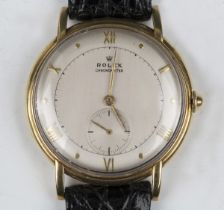 A Rolex Chronometer 18ct gold circular cased gentleman's wristwatch, the signed silvered dial with