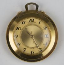 A Jaeger-LeCoultre Memovox alarm gilt metal circular cased lady's travelling watch, the signed
