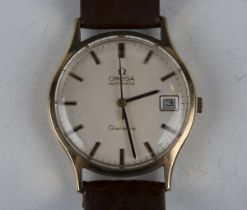 An Omega Automatic Genève 9ct gold circular cased gentleman's wristwatch, circa 1973, the signed
